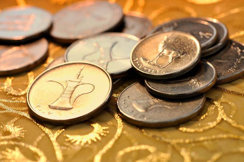 coins of uae, also known as dirham. image taken in dubai. Getty Images