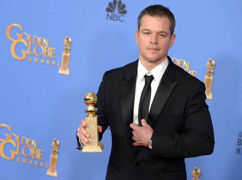 epa05096452 US actor Matt Damon holds the award for Best Actor - Motion Picture, Comedy for 'The Martian' in the press room during 73rd Annual Golden Globe Awards at the Beverly Hilton Hotel in Beverly Hills, California, USA, 10 January 2016.  EPA/PAUL BUCK