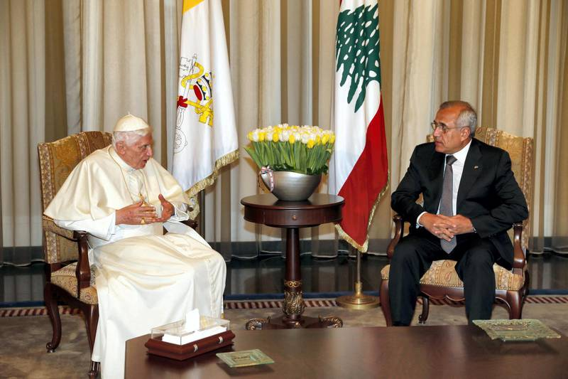 """A handout picture released by the Lebanese photo agency Dalati and Nohra shows Lebanese President Michel Sleiman meeting with Pope Benedict XVI prior to his departure on September 16, 2012, in Beirut. AFP PHOTO/HO/DALATI AND NOHRA == RESTRICTED TO EDITORIAL USE - MANDATORY CREDIT """" AFP PHOTO / HO / DALATI AND NOHRA """" - NO MARKETING NO ADVERTISING CAMPAIGNS - DISTRIBUTED AS A SERVICE TO CLIENTS (Photo by - / DALATI AND NOHRA / AFP)"""