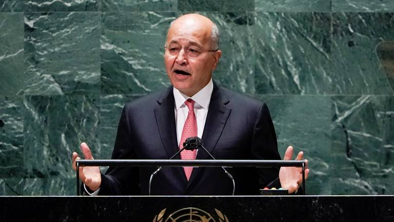 An image that illustrates this article Iraq's president reflects on battle against ISIS in UNGA speech