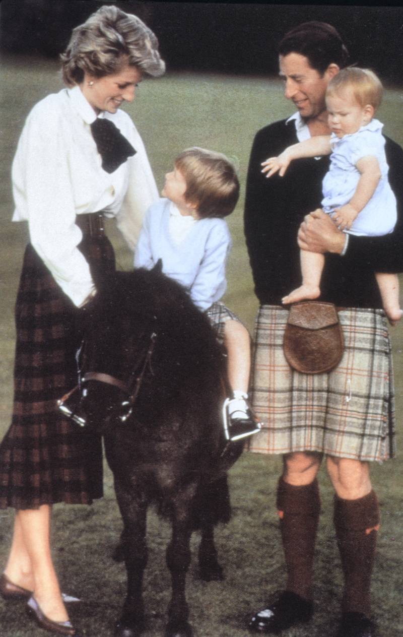 Prince Charles with the Princess of Wales and sons Harry and William at Balmoral August 1988. (Photo by Hugh Farmer /Mirrorpix/Getty Images)