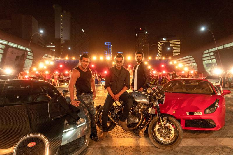 Salman Khan with Bobby Deol and Saqib Saleem on location at Abu Dhabi National Exhibition Centre for 'Race 3'. Courtesy twofour54