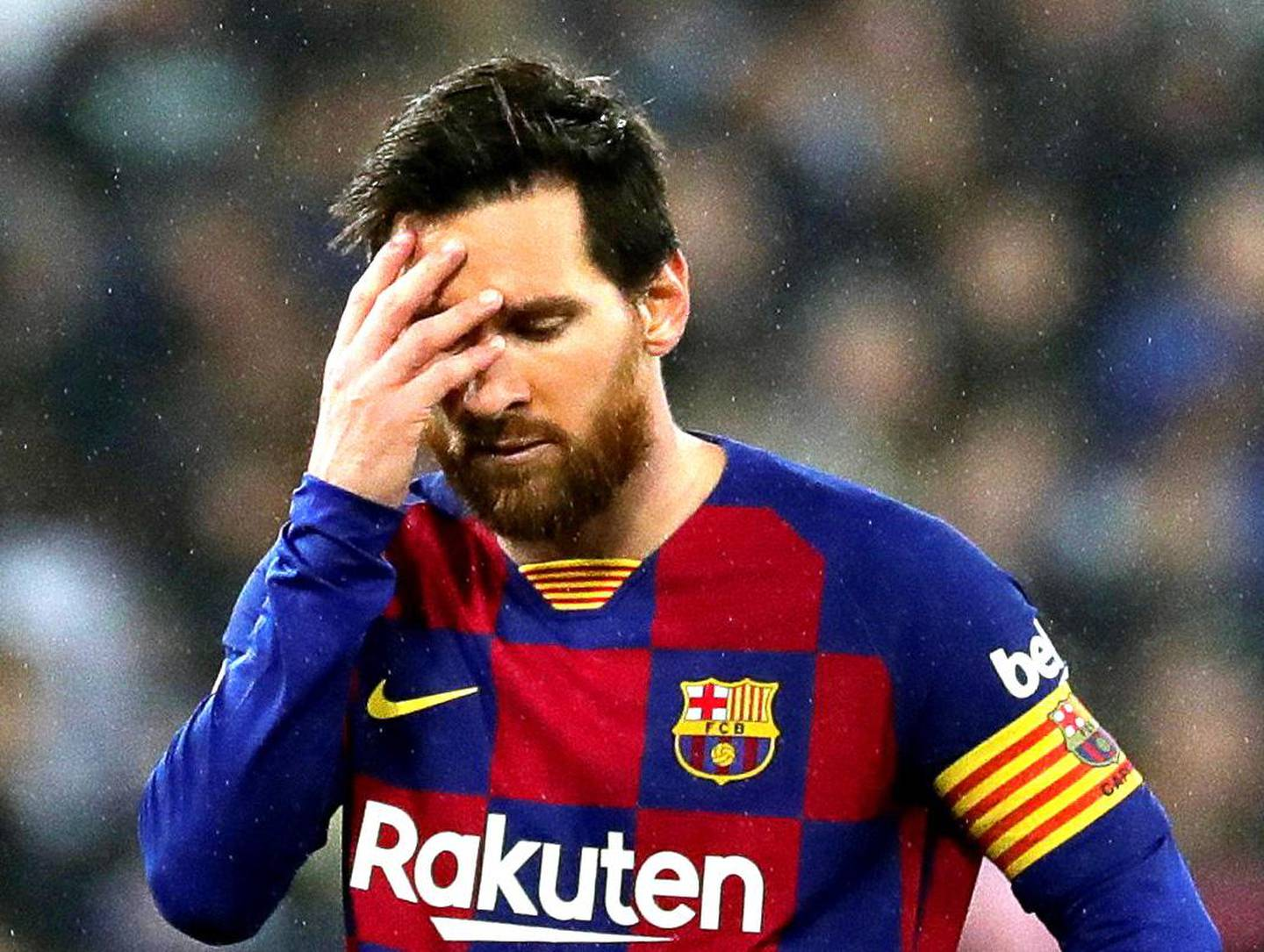 epa08625650 (FILE) - FC Barcelona's Lionel Messi reacts during the Spanish La Liga soccer match between Real Madrid and FC Barcelona, traditionally known as 'El Clasico', at Santiago Bernabeu stadium in Madrid, Spain, 01 March 2020, re-issued 25 August 2020. Messi has sent a certified letter to the club  on 25 August communicating his intentions to leave the club.  EPA/JUANJO MARTIN