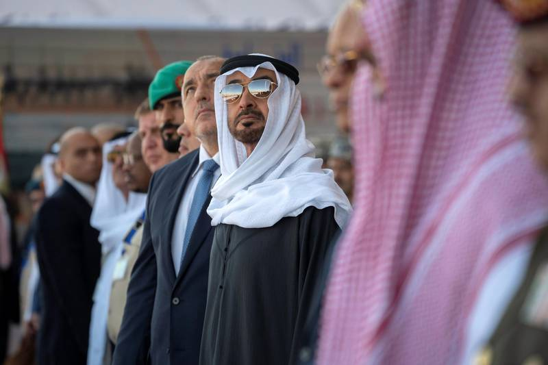 BERENICE, EGYPT - January 15, 2020: HH Sheikh Mohamed bin Zayed Al Nahyan, Crown Prince of Abu Dhabi and Deputy Supreme Commander of the UAE Armed Forces (C), attends the opening ceremony of BereniceMilitary Base.  ( Hamad Al Kaabi /  Ministry of Presidential Affairs ) —