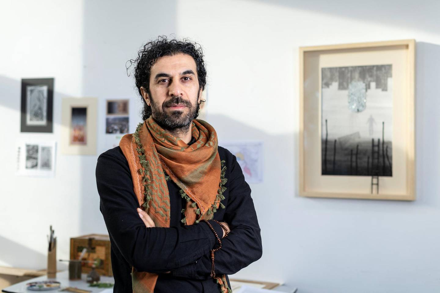 Portrait of Shorsh Saleh in his studio in South London. IWM has commissioned Shorsh to create artwork for it's upcoming Refugee exhibition season, running in 2020.Photographed 16th January 2020.