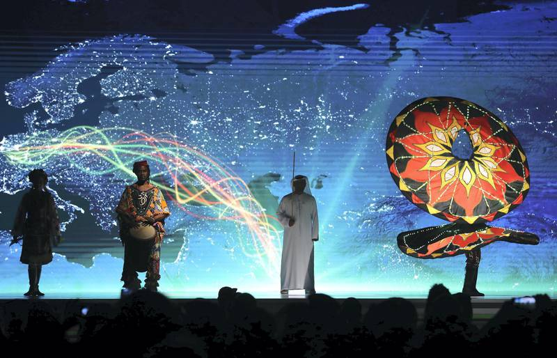 ABU DHABI,  UNITED ARAB EMIRATES , OCTOBER 6 – 2019 :- Artist performing on the opening ceremony of the 26th World Road Congress held at Abu Dhabi National Exhibition Center in Abu Dhabi. ( Pawan Singh / The National ) For News. Story by Patrick