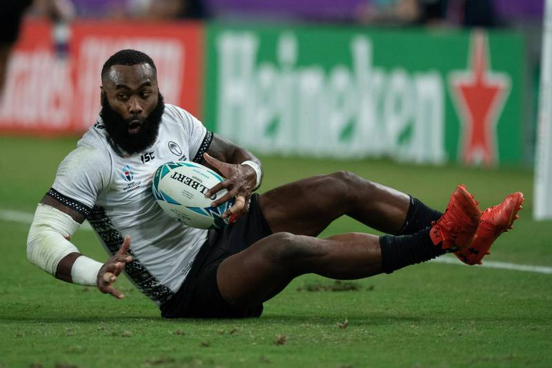 epa07907459 Semi Radradra of Fiji in action during the Rugby World Cup match between Wales and Fiji in Oita, Japan, 09 October 2019.  EPA/HIROSHI YAMAMURA EDITORIAL USE ONLY/ NO COMMERCIAL SALES / NOT USED IN ASSOCATION WITH ANY COMMERCIAL ENTITY