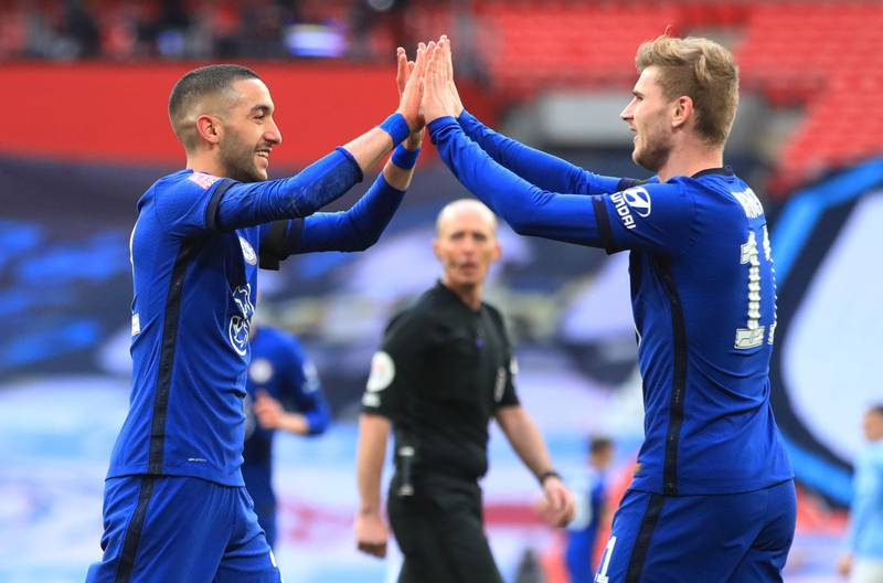 Soccer Football -  FA Cup Semi Final - Chelsea v Manchester City - Wembley Stadium, London, Britain - April 17, 2021 Chelsea's Hakim Ziyech celebrates scoring their first goal with Timo Werner Pool via REUTERS/Adam Davy