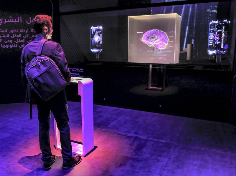 Dubai, U.A.E., February 10, 2019.  World Government Summit,  Museum of the Future. Stimulating brain map in the mind host.Victor Besa/The NationalSection:  NAReporter: