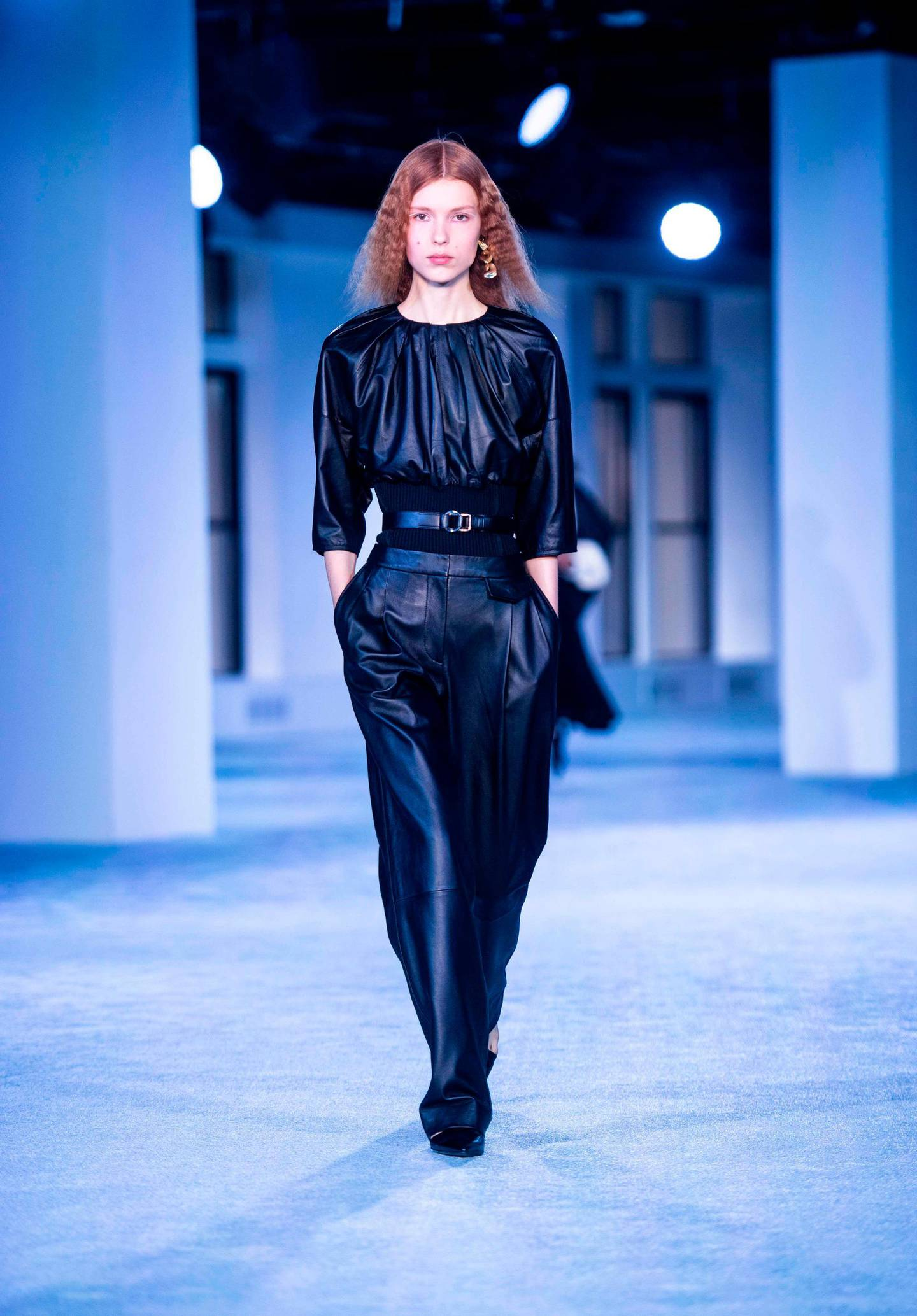 A model walks the runway of Phillip Lim fashion show during New York Fashion Week on February 11, 2019 in New York City.  / AFP / Johannes EISELE
