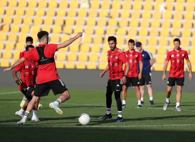 Dubai, United Arab Emirates - Reporter: John McAuley. Sport. Football. UAE player Khalil Al Hammadi during a training session at Zabeel Stadium, Dubai. Saturday, March 27th, 2021. Dubai. Chris Whiteoak / The National