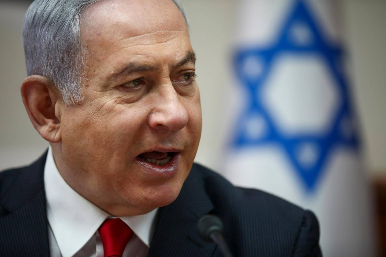 epa08277879 Israeli Prime Minister Benjamin Netanyahu chairs the weekly cabinet meeting in Jerusalem, 08 March 2020.  EPA/Oded Balilty / POOL pool photo
