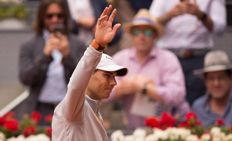 MADRID, SPAIN - MAY 09: Rafael Nadal of Spain celebrates his straight sets victory over Gael Monfils of France during their second round match on day five of the Mutua Madrid Open at La Caja Magica on May 9, 2018 in Madrid, Spain. (Photo by Denis Doyle/Getty Images)