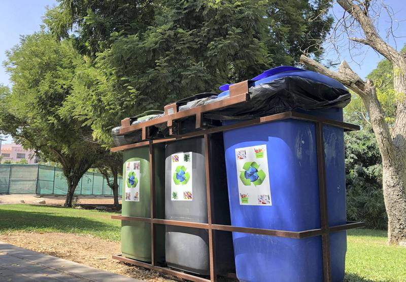 Dubai, United Arab Emirates - Reporter: Kelly Clarke. News. Recycling. Glass, paper, cans and plastic for recycling in the Gardens. Different spots around the city where you can drop items for recycling. Wednesday, October 7th, 2020. Dubai. Chris Whiteoak / The National