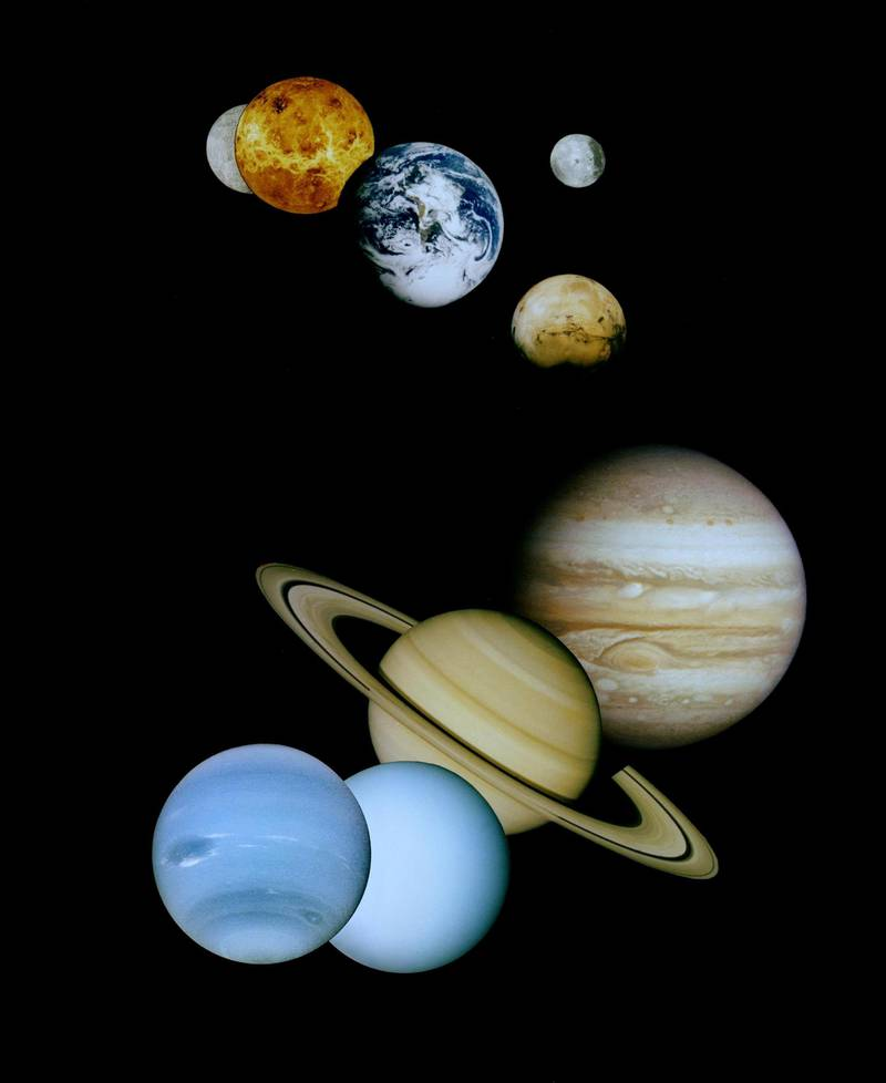 This is an updated montage of planetary images taken by spacecraft managed by NASA?s Jet Propulsion Laboratory in Pasadena, CA. Included are (from top to bottom) images of Mercury, Venus, Earth (and Moon), Mars, Jupiter, Saturn, Uranus and Neptune.