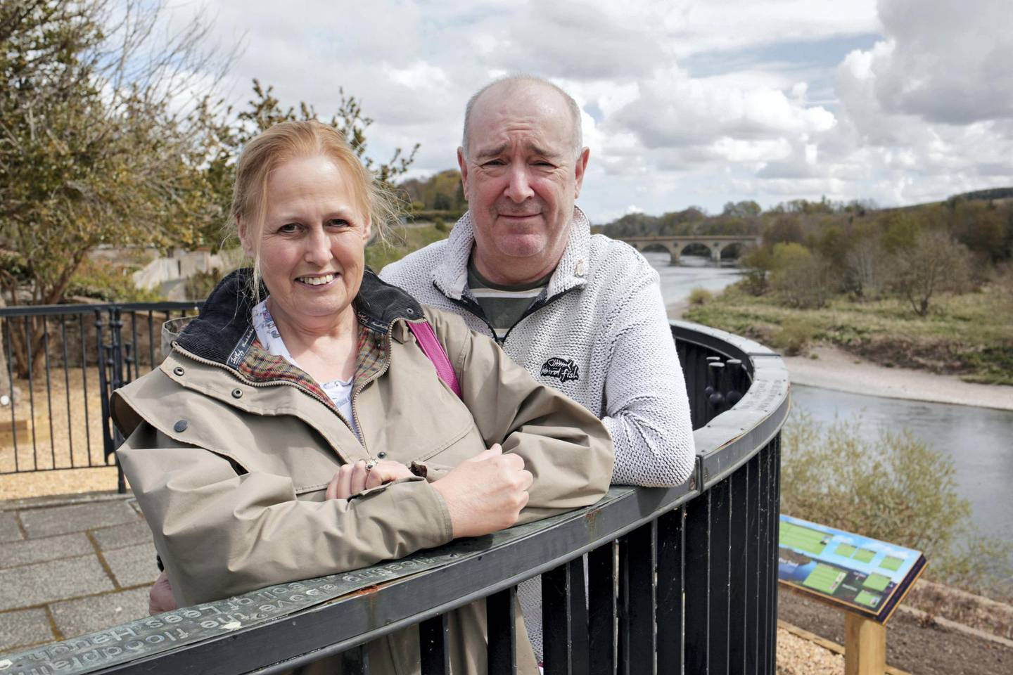 Mark and Hazel Stooker from Newcastle, in England, during a visit to Coldstream. Photograph: Stuart Boulton