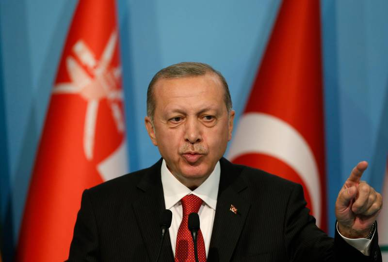 Turkey's President Recep Tayyip Erdogan talks during the closing news conference following the extraordinary summit of the Organization of Islamic Cooperation (OIC), in Istanbul, Friday, May 18, 2018.Turkey urged Muslim nations at an OIC summit on Friday to stand with the Palestinians against Israel, warning that the American decision to recognise Jerusalem as Israel's capital would only be the first among many moves against the Islamic world.(AP Photo/Emrah Gurel)