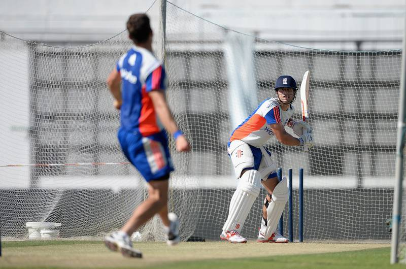 ABU DHABI, UNITED ARAB EMIRATES - OCTOBER 12:  England captain Alastair Cook bats during a nets session at Zayed Cricket Stadium on October 12, 2015 in Abu Dhabi, United Arab Emirates.  (Photo by Gareth Copley/Getty Images)