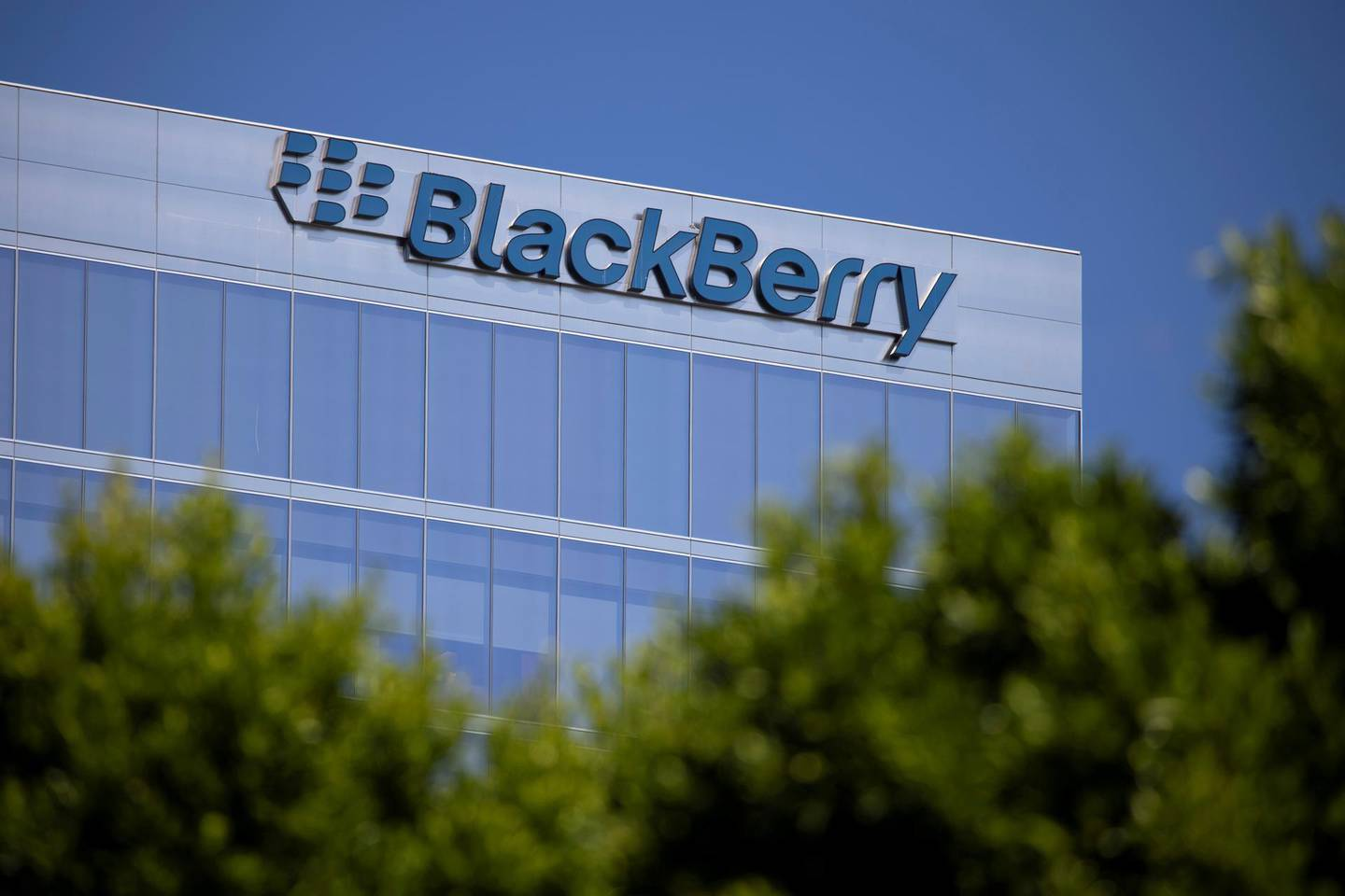 FILE PHOTO: The Blackberry logo is shown on a office  tower in Irvine, California, U.S., October 20, 2020.  REUTERS/Mike Blake/File Photo