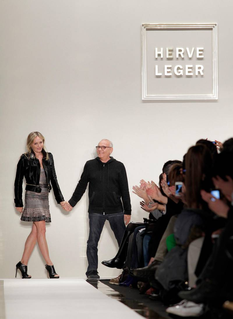 11 Feb 2012, Manhattan, New York City, New York State, USA --- Max Azria steps out on the runway after the Herve Leger fashion show for the Fall 2012 Collections at Mercedes-Benz Fashion Week at Lincoln Center In New York City on February 11, 2012. --- Image by © John A. Angelillo/Corbis