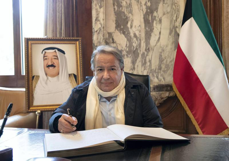 LONDON 1st October 2020. Former Kuwait Ambassador to Greece Raed Al-Rifai signs a book of condolence at the Kuwait Embassy in London , following the death of the Emir of Kuwait. Stephen Lock for the National