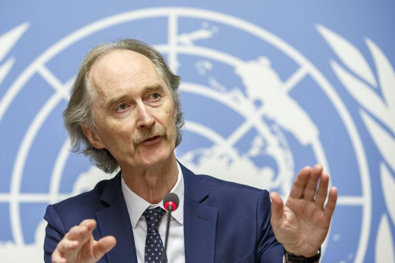 epa07981535 Geir O. Pedersen, Special Envoy for Syria, speaks to the media after the first round on the meeting of the Syrian Constitutional Committee, during a press conference at the European headquarters of the United Nations (UNOG) in Geneva, Switzerland, 08 November 2019.  EPA/SALVATORE DI NOLFI