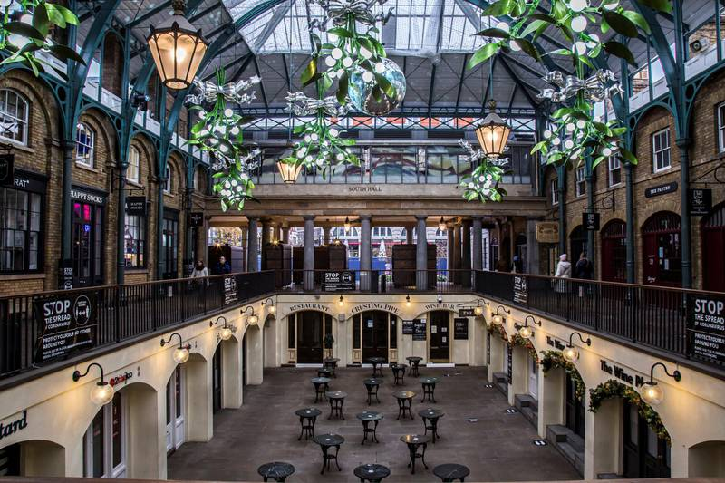Locations in London during lockdown in the lead up to Christmas 2020. Covent Garden