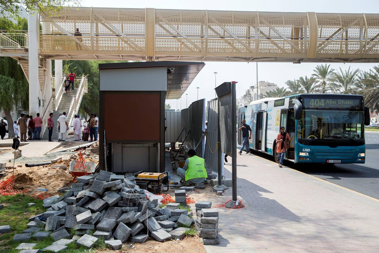 Abu Dhabi, United Arab Emirates - August 14, 2018: A new bus shelter being built in Abu Dhabi. A story on the reaction from users of the bus service to the new shelters. Tuesday, August 14th, 2018 on Sultan bin Zayed the 1st Street, Abu Dhabi. Chris Whiteoak / The National