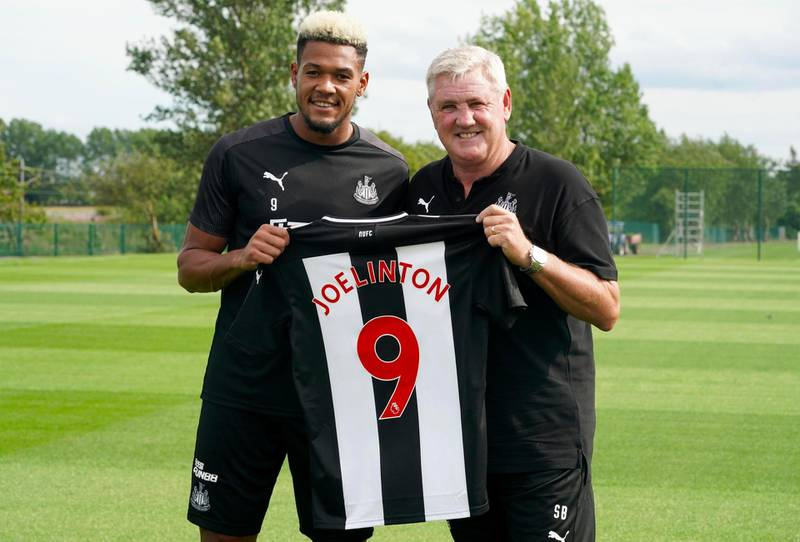 Newcastle United new signing Joelinton (left) with Newcastle United Manager Steve Bruce during the press conference at Newcastle United Training Centre. PRESS ASSOCIATION Photo. Picture date: Wednesday July 24, 2019. See PA story SOCCER Newcastle. Photo credit should read: Owen Humphreys/PA Wire