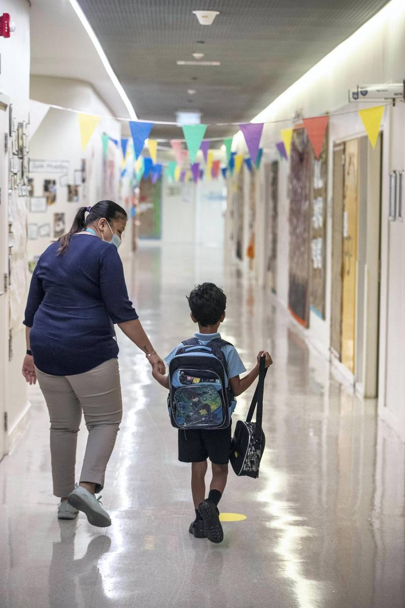 DUBAI, UNITED ARAB EMIRATES. 30 AUGUST 2020. STANDALONE. First day of school. Gems Wellington Academy in Al Khail opens for the start of the school year. (Photo: Antonie Robertson/The National) Journalist: Anna Zacharias. Section: National.