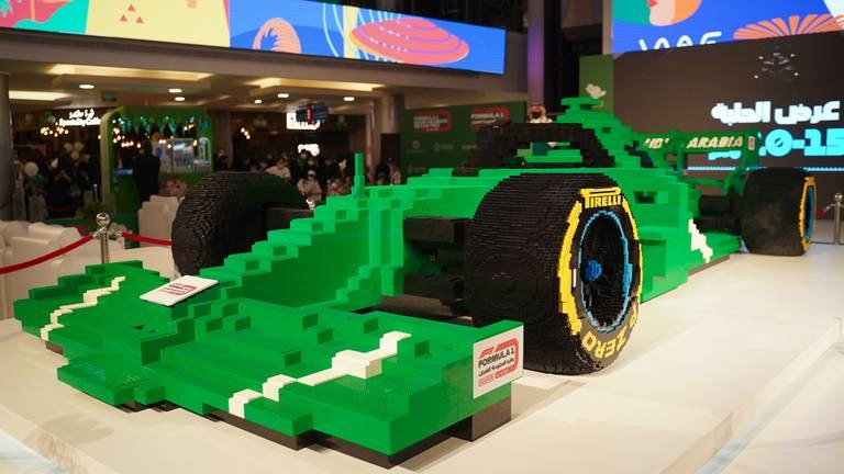 An image that illustrates this article Saudi GP unveils world's biggest F1 'car' made from Lego bricks - in pictures
