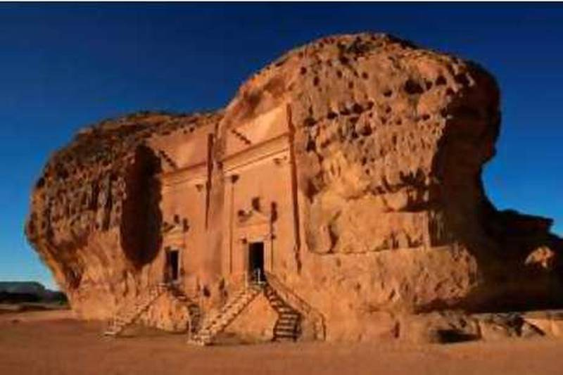 A file picture dated December 16, 2007 shows a section of the Archaeological Site of Al-Hijr, also known as Madain Saleh, in northern Saudi Arabia which was added on July 6, 2008 to UNESCO's World Heritage List. Al-Hijr, the largest conserved site of the civilization of the Nabataeans south of Petra in Jordan, is the first World Heritage site in Saudi Arabia. UNESCO's World Heritage Committee added this weekend three new sites to its heritage list, including a former slave hideout in Mauritius, China's Fujian Tulou earthen houses and the Saudi Nabataean site. AFP PHOTO/HASSAN AMMAR *** Local Caption ***  849095-01-08.jpg