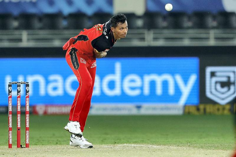 Navdeep Saini of Royal Challengers Bangalore bowling during match 10 of season 13 of the Dream 11 Indian Premier League (IPL) between The Royal Challengers Bangalore and The Mumbai Indians held at the Dubai International Cricket Stadium, Dubai in the United Arab Emirates on the 28th September 2020.  Photo by: Saikat Das  / Sportzpics for BCCI
