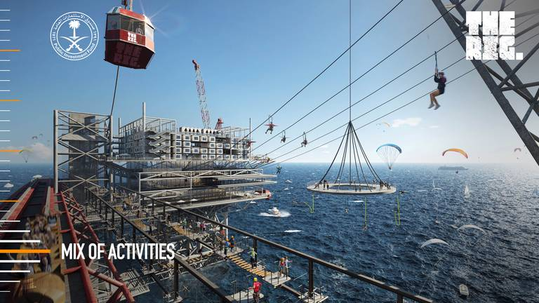 An image that illustrates this article Saudi Arabia oil rig resort: New images show sprawling sea theme park