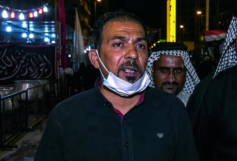 A grab from an AFPTV video taken on August 27, 2020, shows Iraqi activist Ehab al-Ouazni during a mourning ritual to commemorate the martyrdom of Prophet Mohammad's grandson Imam Hussein during the Islamic month of Muharram, in the central shrine city of Karbala. The renowned anti-government activist was killed in Iraq early today, security sources and activists said, sending supporters of a protest movement onto the streets to demand an end to bloodshed. / AFP / -