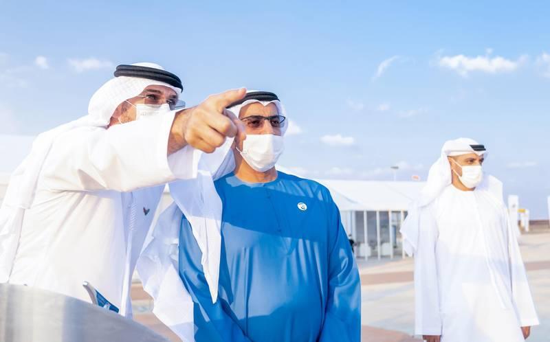 *** GENERAL CAPTION ***ALDHAFRA - RUWIAS, UNITED ARAB EMIRATES -January 06, 2021: HH Sheikh Hamdan bin Zayed Al Nahyan, Ruler's Representative in Al Dhafra Region (), attends Etihad Rails project at Ruwais.( Rashed Al Mansoori / Ministry of Presidential Affairs )---