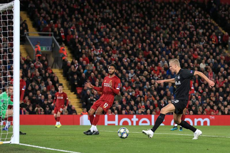 LIVERPOOL, ENGLAND - OCTOBER 02: Erling Haaland of Salzburg scores their 3rd goal during the UEFA Champions League group E match between Liverpool FC and RB Salzburg at Anfield on October 2, 2019 in Liverpool, United Kingdom. (Photo by Simon Stacpoole/Offside/Offside via Getty Images)