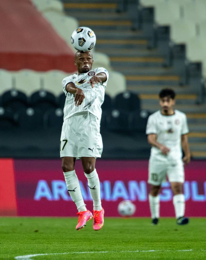 Arabian Gulf League final round: Al Jazira v Khorfakkan at Mohamed bin Zayed stadium. Serero of Jazira heads the ball during the first half of the game on May 11th, 2021. Victor Besa / The National.