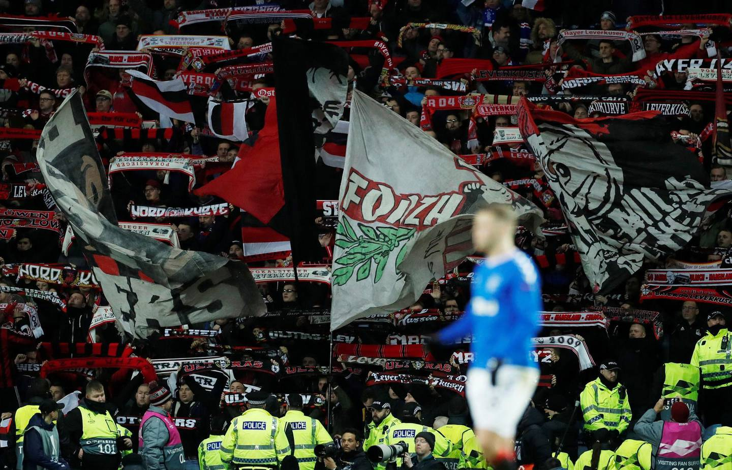 Soccer Football - Europa League - Round of 16 First Leg - Rangers v Bayer Leverkusen - Ibrox, Glasgow, Scotland, Britain - March 12, 2020  Bayer Leverkusen fans during the match       Action Images via Reuters/Lee Smith