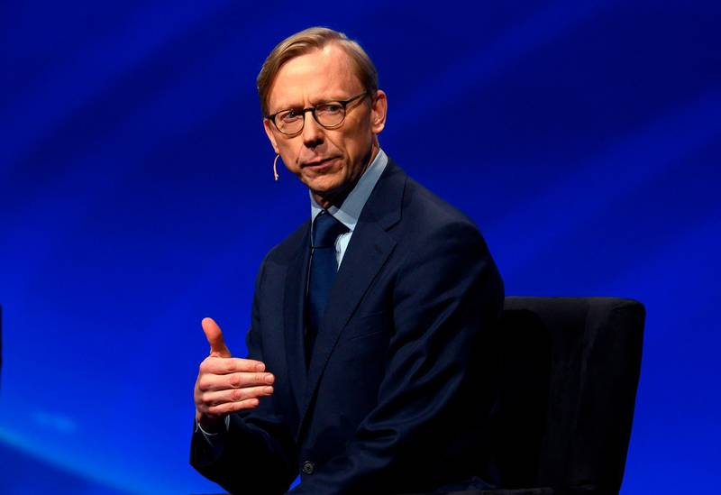 (FILES) In this file photo taken on March 24, 2019 Brian Hook, the US State Department Special Representative for Iran, speaks during the American Israel Public Affairs Committee (AIPAC) conference in Washington, DC. US President Donald Trump's son-in-law and assistant Jared Kushner has departed on a trip to Morocco, Jordan and Israel, the White House said on May 28, 2019, signalling a fresh round of talks on a proposed US Mideast peace plan. Kushner is accompanied by Jason Greenblatt, Trump's special representative to international negotiations, and Brian Hook, the special US representative for Iran, the White House said. / AFP / ANDREW CABALLERO-REYNOLDS