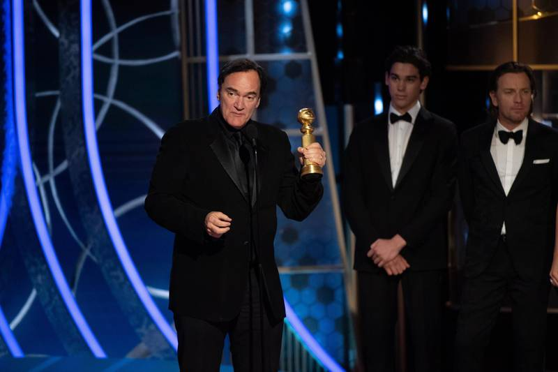 epa08106848 A handout photo made available by the Hollywood Foreign Press Association (HFPA) shows Quentin Tarantino accepting the Golden Globe Award for Best Screenplay - Motion Picture for 'Once Upon a Time...in Hollywood' during the 77th annual Golden Globe Awards ceremony at the Beverly Hilton Hotel, in Beverly Hills, California, USA, 05 January 2020.  EPA/HFPA / HANDOUT ATTENTION EDITORS: IMAGE MAY ONLY BE USED UNALTERED, ONE TIME USE ONLY WITHIN 60 DAYS MANDATORY CREDIT HANDOUT EDITORIAL USE ONLY/NO SALES