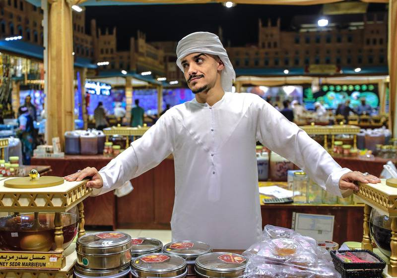 Abu Dhabi, United Arab Emirates, January 5, 2020.  Photo essay of Global Village.--  Ahmed Al Asmoori, 22, Yemen, Has been selling Yemeni Honey for 2 years now.Victor Besa / The NationalSection:  WKReporter:  Katy Gillett