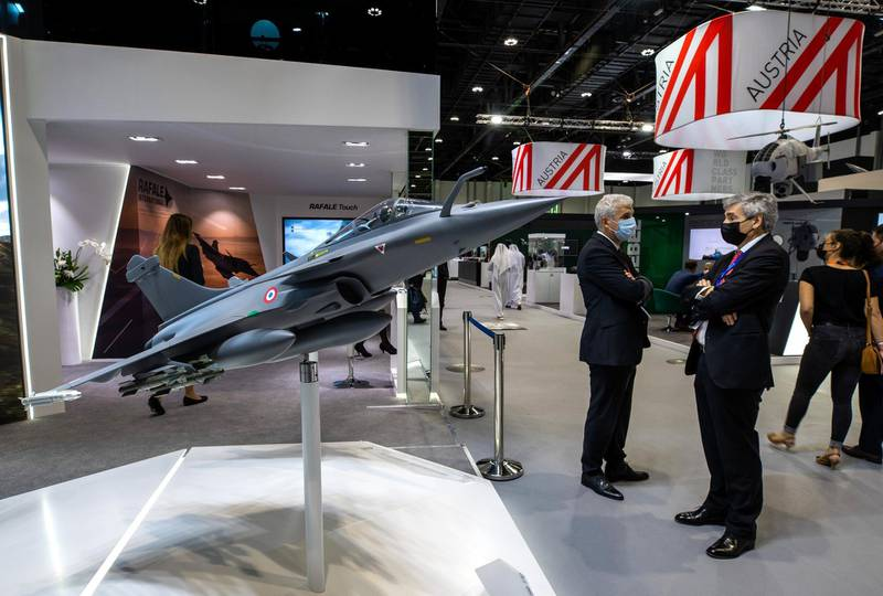 Abu Dhabi, United Arab Emirates, February 21, 2021.  Idex 2021, the first major in-person exhibition held in Abu Dhabi since the start of the Covid-19 pandemic, opened its doors to delegates on Sunday morning.Victor Besa / The NationalSection:  NAReporter:  John Dennehy