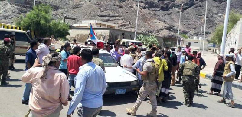 Protesters storm government headquarters in Aden. Ali Mahmood / The National