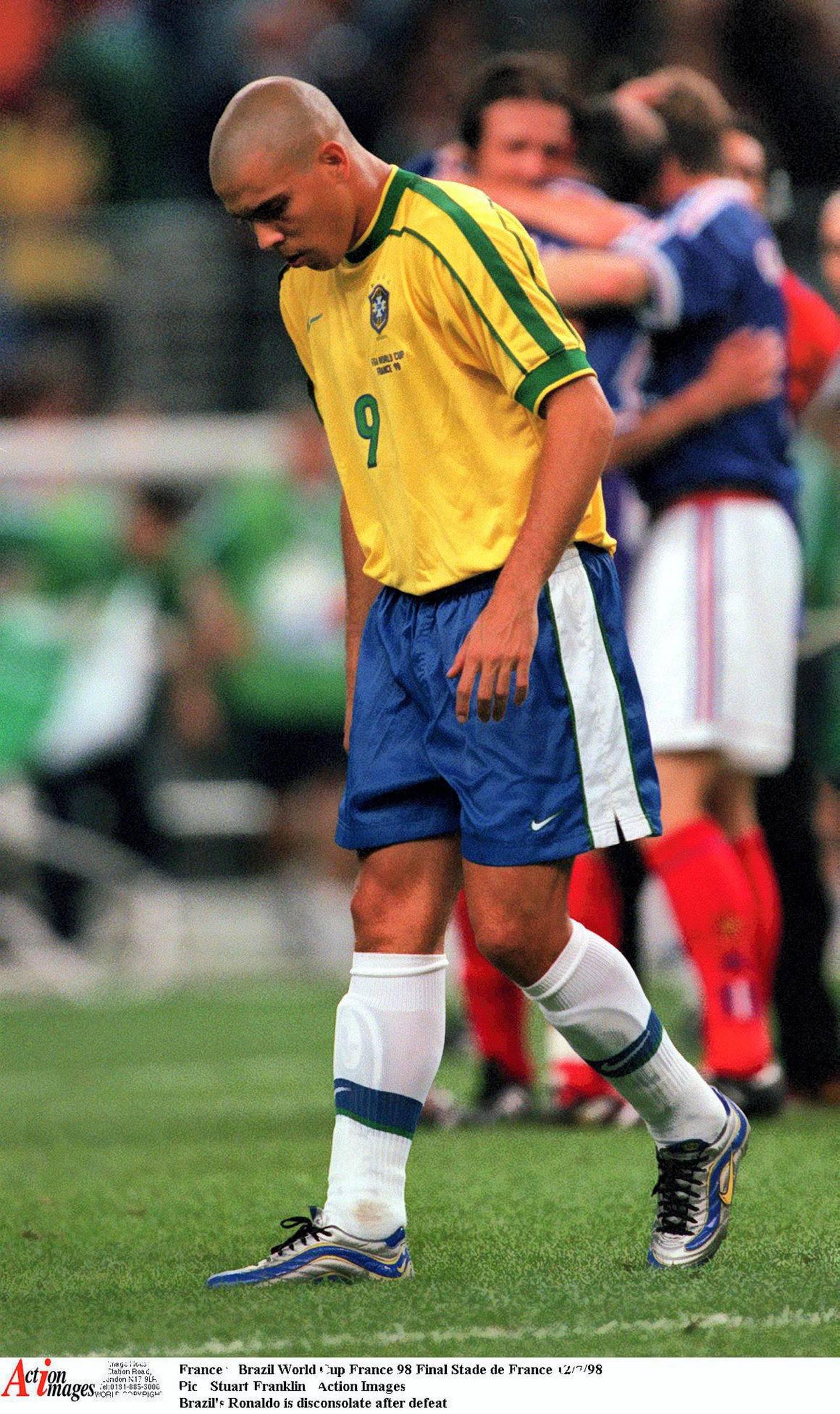 Football - 1998 FIFA World Cup - Final - France v Brazil - Stade de France, Saint Denis - 12/7/98  Pic : Stuart Franklin / Action Images  Brazil's Ronaldo is disconsolate after defeat - MT1ACI1686552