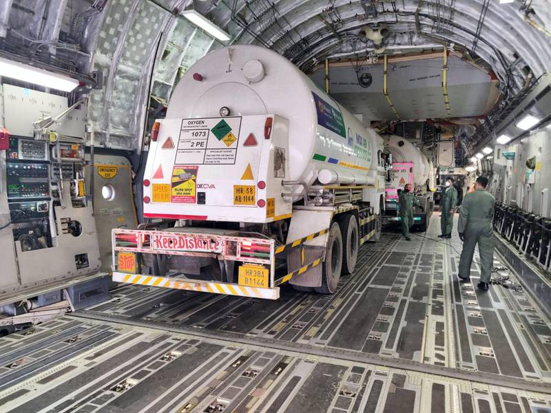 IAF C-17 airlifted 6 Cryogenic oxygen containers from Dubai Airports & landed at the Panagarh Air Base this evening. Within the country, Oxygen containers were airlifted from Jaipur to Jamnagar Air base. Indian Air Force twitter