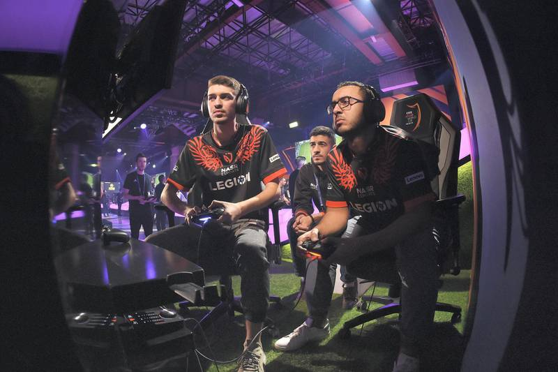 MILAN, ITALY - FEBRUARY 07: Haroun Yassin and Ramy Abdelaal of Nasr eSports team compete during the FIFA eClub World Cup 2020 - Day 1 on February 07, 2020 in Milan, Italy. (Photo by Tullio Puglia - FIFA/FIFA via Getty Images)