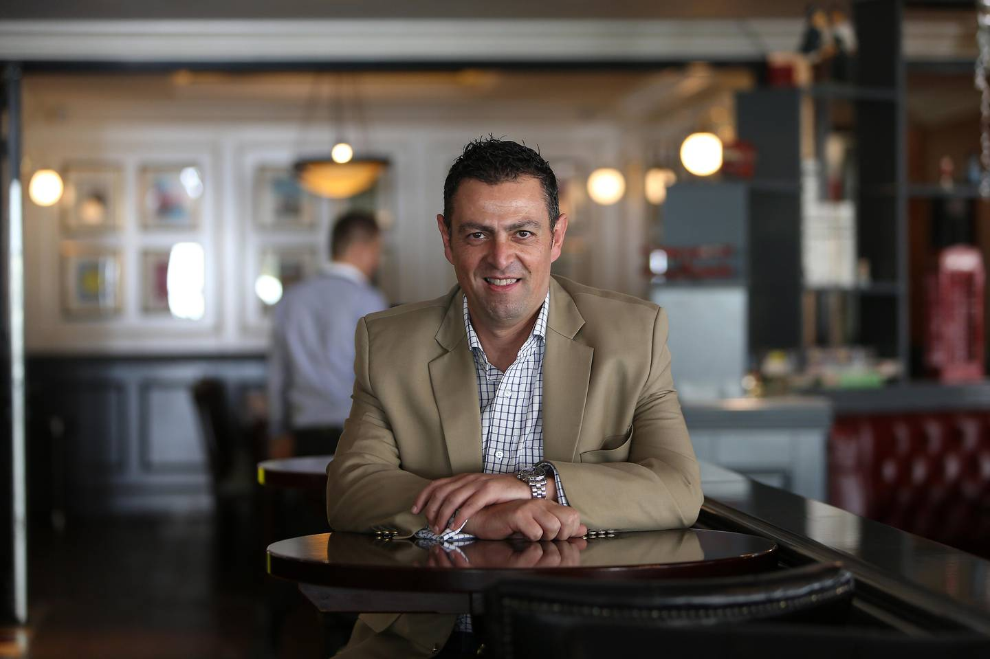 DUBAI , UNITED ARAB EMIRATES Ð Dec 14 , 2014 : Naim Maadad , CEO of Gates Hospitality at the Reform Social & Grill restaurant in The Lakes in Dubai. ( Pawan Singh / The National ) For Business. Story by Shereen Elgazzar *** Local Caption ***  PS1412- GATES06.jpg