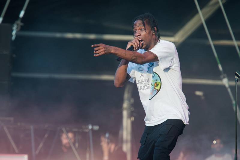 PARIS, FRANCE - JULY 21:  Travis Scott performs during Lollapalooza Festival at Hippodrome de Longchamp on July 21, 2018 in Paris, France.  (Photo by David Wolff - Patrick/Getty Images)