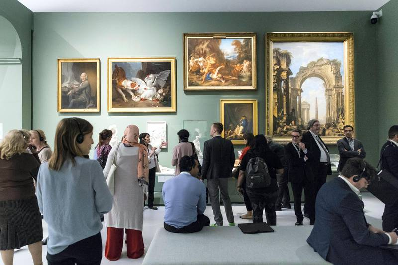Abu Dhabi, United Arab Emirates, December 19, 2017:    Journalists preview the, From One Louvre to Another exhibit, at the Louvre Abu Dhabi on Saadiyat Island in Abu Dhabi on December 19, 2017. The exhibit will be open from December 21st to April 7, 2018. Christopher Pike / The National  Reporter: John Dennehy Section: News